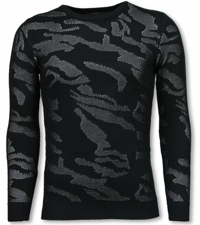 John H 3D Camouflage Neon Pullover - Tjocktröja Herr - P-733W - Svart