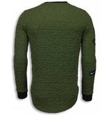 John H 3D Numbered Pocket Long Fit - Sweater Herr - T-7633G - Grön