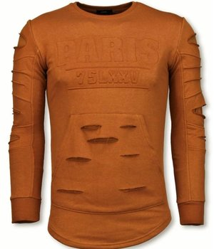 John H 3D Stamp PARIS Trui - Damaged Sweater - Oranje