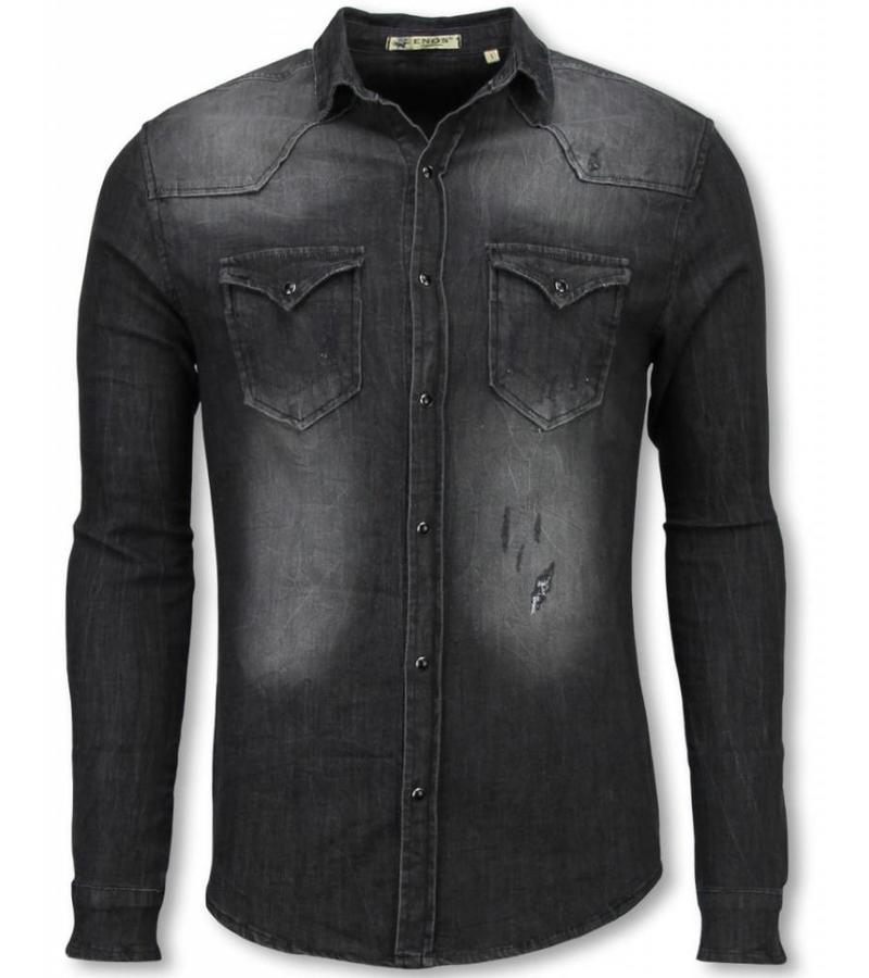 Enos Jeansskjorta slim fit herr - Skjortor för män - CJ-9818G - Grå