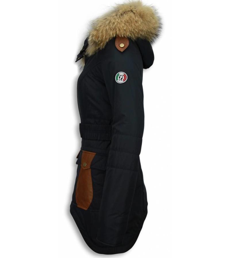 Milan Ferronetti Exklusiv Ladies Fur Coat - Jackor Dam Vinter - R035B - Blå