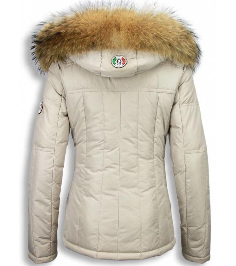 Milan Ferronetti Bästa Vinterjackan 2020 - Kvinnors Vinterjacka Kort - R023BG - Beige