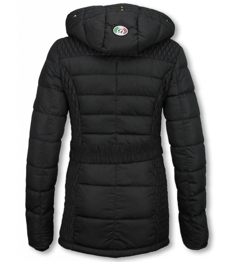 Milan Ferronetti Kvinnors Vinterjacka Halvlång - Black On Black Edition - Svart