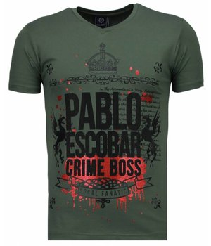 Local Fanatic Pablo Escobar Boss - Rhinestone T-shirt - Groen