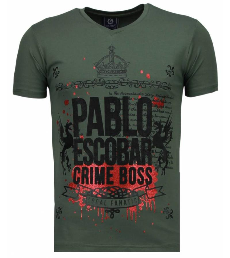 Local Fanatic Pablo Escobar Boss Rhinestone - Herr T Shirt - 5082G - Grön