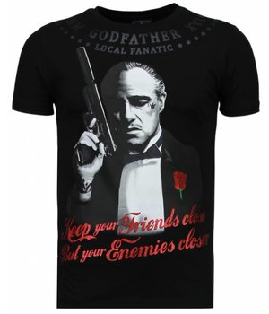Local Fanatic Godfather - Rhinestone T-shirt - Zwart