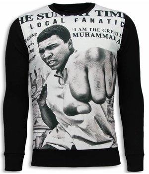 Local Fanatic Muhammad Ali Newspaper Sweater - Tröja Herr - 5787Z - Svart