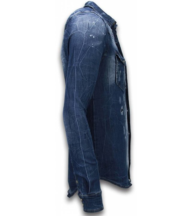 Enos Jeanshemd Herren - Slim Fit Long Sleeve - Vintage Look - Blau