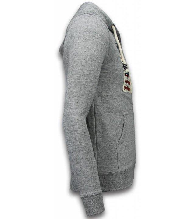 Enos Sweatjacke - Herren-pullover - Embroidery American Heritage - Grau