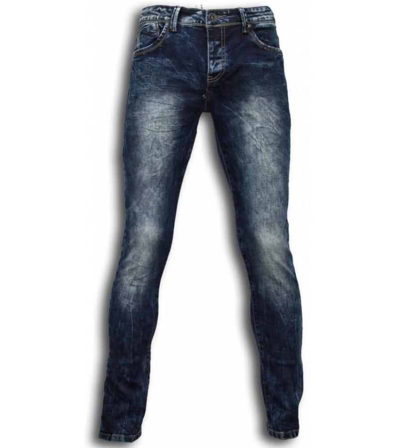 Black Ace Exclusiv Jeans - Slim Fit Washed Look Jeans - Blau