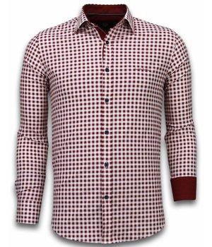 Gentile Bellini Italianische Hemden - Slim Fit - Garment Pattern - Rot