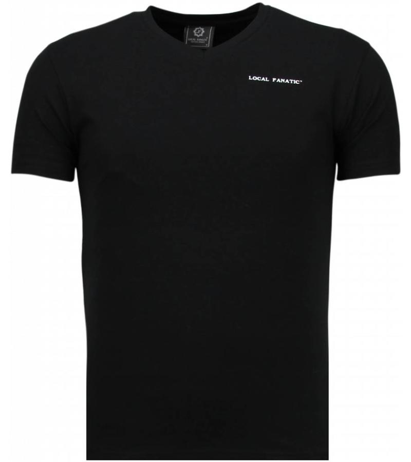 Local Fanatic Exklusiv V Neck - T-Shirt Herren - Schwarz