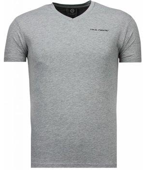 Local Fanatic Exklusiv V Neck - T-Shirt Herren - Grau