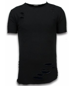 © MAN Damaged Look T-Shirt - Long Fit T shirt Herren - Schwarz