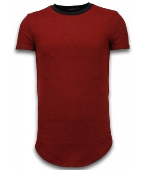 John H 3D Encrypted T-Shirt - Long Fit T shirt Herren Zipped - Rot