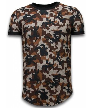 John H Camouflaged Fashionable T-Shirt- Long Fit T shirt Herren Army Pattern - Braun