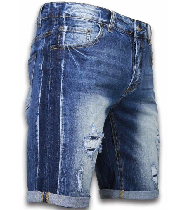 Enos Kurze Hosen Herren - Slim Fit Vintage Torn Look Shorts - Blau