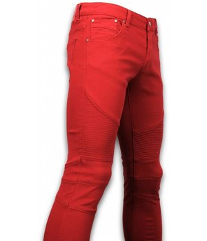 New Stone Exclusiv Ribbed Jeans - Slim Fit Biker Colored Jeans - Stiched Knee - Rot