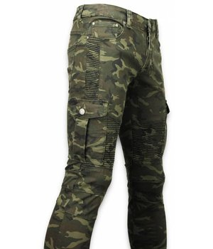 New Stone Exclusiv Side Pocket Jeans - Slim Fit Biker Jeans Camouflage - Grün