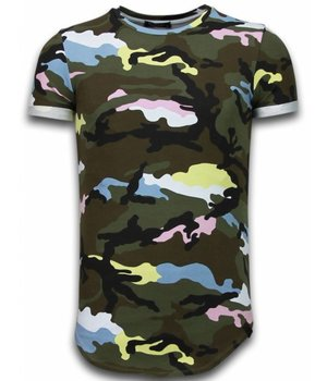 Uniplay Known Camouflage T-shirt - Long Fit Shirt Army - Rosa