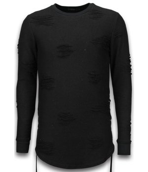 John H Destroyed Look Pullover - Side Laces Long Fit Sweatshirt - Schwarz