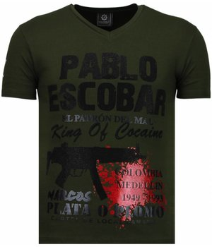 Local Fanatic Pablo Escobar Narcos - Strass T Shirt Herren - Grün