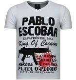 Local Fanatic Pablo Escobar Narcos - Strass T Shirt Herren - Weiß