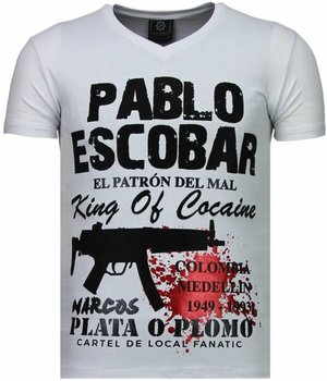 Local Fanatic Pablo Escobar Narcos - Strass T Shirt Herren - Weiß