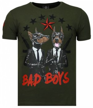 Local Fanatic Bad Boys Pinscher - Strass T Shirt Herren - Grün