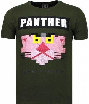 Local Fanatic Panther For A Cougar - Strass T Shirt Herren - Grün