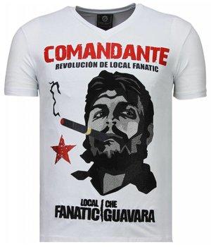 Local Fanatic Che Guevara Comandante - Strass T Shirt Herren - Weiß
