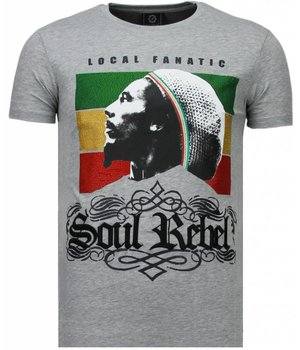 Local Fanatic Soul Rebel Bob -Strass T Shirt Herren - Grau