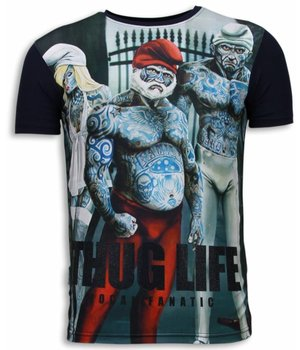 Local Fanatic Thug Life - Digital Strass T Shirt Herren - Marine