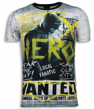 Local Fanatic Wanted Gothams Hero - Digital Strass T Shirt Herren - Grau