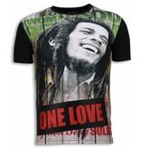 Local Fanatic Bob Marley One Love - Strass T-shirt - Schwarz