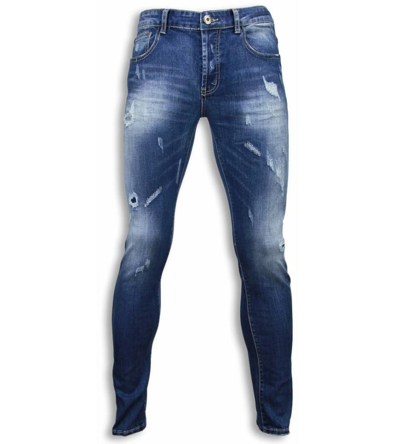 Black Ace Basic Jeans - Damaged Regular Fit - Blau