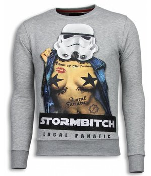 Local Fanatic Stormbitch - Strass Sweater - Grau
