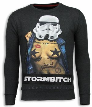 Local Fanatic Stormbitch - Strass Sweater - Steinkohle