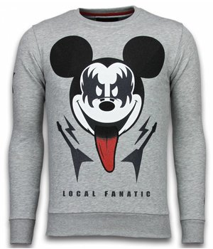 Local Fanatic Kiss My Mickey - Strass Sweater - Grau