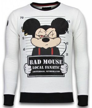 Local Fanatic Bad Mouse - Strass Sweater - Weiß