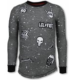 Local Fanatic Longfit Embriordry - Sweater Patches - Rockstar - Anthrazit