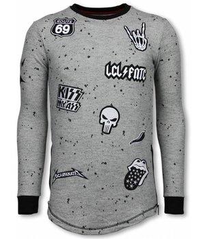 Local Fanatic Longfit Embriordry - Sweater Patches - Rockstar - Grau