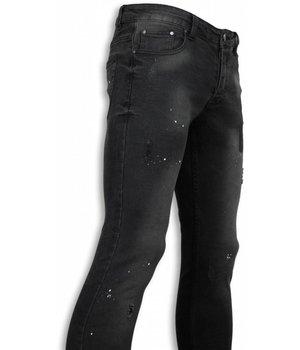 New Stone Exklusive Jeans - Slim Fit Paint Drops Jeans - Schwarz