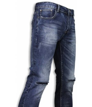 Black Ace Basic Jeans - Damaged Knee Regular Fit - Blau