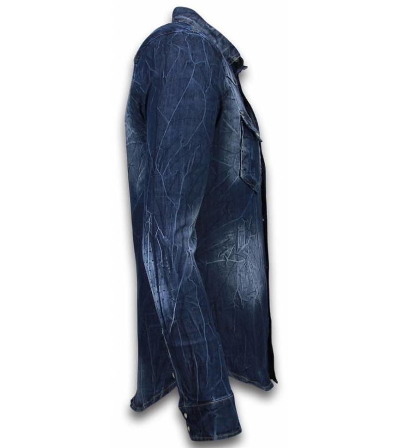 Enos Jeanshemd Herren -Slim Fit Long Sleeve - Vintage Washed - Blau