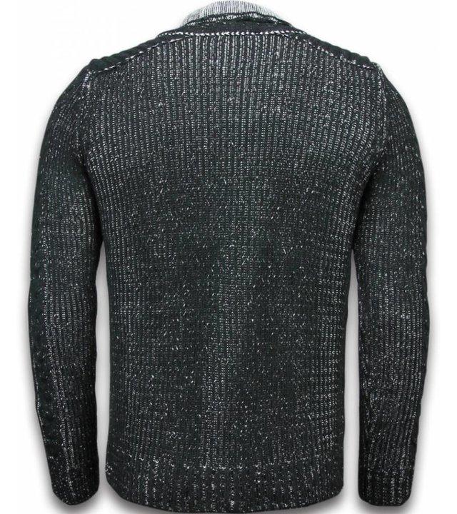 Black Number Gestrickt Herren Pullover - Exklusive Schalkragen Zipper - Schwarz