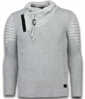 Black Number Gestrickt Herren Pullover - Exklusive Schalkragen Zipper - Grau