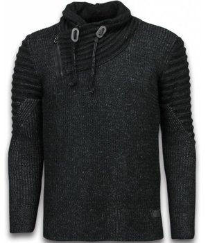 Black Number Gestrickt Herren Pullover - Doppelte Schalkragen Zipper - Schwarz