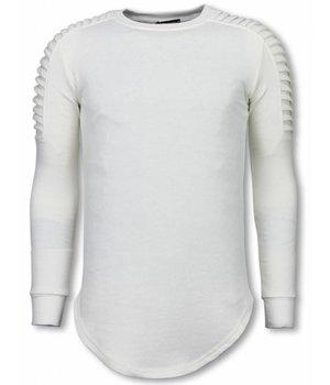 Uniplay Longfit Sweater - Biker Schulter- Weiß