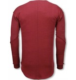 Uniplay Longfit Sweater - Damaged Look Shirt - Bordeaux